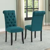 Alcott Hill® Classic Tufted Chair Kitchen Chairs Set Of 2 Modern Dining Room Side Chairs Fabric Cushion Seat Back Wood/Upholstered/Fabric in Blue