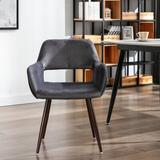 Everly Quinn Dining Chairs w/ Velvet Mid Century Side Chairs w/ Brown Painting Steel Leg For Dining Room Bedroom Leisure   Wayfair