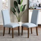 Alcott Hill® Upholstered Dining Chairs Furniture Fabric Dining Chairs w/ Nailhead Trim, Set Of 2Wood/Upholstered/Fabric in Blue   Wayfair
