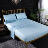 Latitude Run® Bedding 4 Piece Bed Sheet Set Solid Color Comforter Set Made Of Polyester Microfiber/Polyester/Microfiber in Blue | Wayfair
