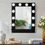 Latitude Run® Hollywood Makeup Vanity Mirror Tanding Vanity Makeup Mirror in Black, Size 27.0 H x 23.0 W x 10.0 D in | Wayfair