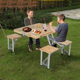 Arlmont & Co. Folding Picnic Table & Beach Set, Siamese Tables & Chairs Set,Wood + Aluminum Alloy Portable Desk w/ 4 Seats For Indoor Outdoor Travel