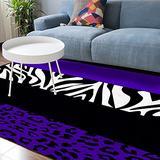 Soft Area Rugs for Bedroom Stylish Leopard Zebra Pattern Wild Animal Elegant Purple Pattern Print Washable Rug Carpet Floor Comfy Carpet Kids Play Mats Runner Rug for Floor Accent Home Decor-