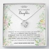Personalized Necklace Gift - Forever Love Necklace, Daughter Gift From Mom And Dad, To Our Daughter Necklace, Love Knot Necklace, Cute Message Necklace For Girls, Personalized Gifts For Women