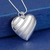 AMOZ Fashion925 Sterling Silver Necklace 18 Inches Heart Photo Frame Pendant for Women Fashion Trend Jewelry,45Cm
