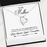Personalized Necklace Gift - Forever Love Necklace, Mothers Day Gift From Daughter, Mom Heart Necklace, Mother Daughter, 14K White Gold Finish Or 18K Yellow Gold Finish, Cubic Zirconia Stones
