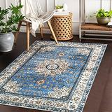 Lahome Oriental Floral Medallion Area Rug - 3x5 Blue Persian Distressed Entry Throw Rug Vintage Faux Wool Indoor Accent Rug Non-Slip Washable Low-Pile Carpet for Entrance Living Dining Room Bedroom
