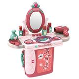 2 in 1 Kids Pretend Play Make Up Case, Kids Vanity Set with Mirror and Beauty Accessories, Vanity Pretend Play Dressing Table & Suitcase, Birthday Gift for Little Princess (Multicolour)