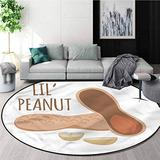 RUGSMAT Food Modern Round Abstract Area Rug,Shelled Peanut Natural Snack Carpet Door Pad for Bedroom/Living Room/Balcony/Kitchen Mat Round-31
