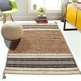 Cotton Area Rug 5'x8'-Flatweave Chenille Handcrafted Braided Area Rugs (Beige,5'x8') Affordable Modern Farmhouse Living Room-Hand Woven Indoor Area Rug-Washable for Bedroom