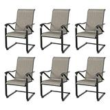Iwicker Patio C Spring Motion Black Steel Mesh Fabric Dining Chairs with High Back Set of 6