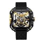 CIGADesign X Men's Titanium Watch Gold & Black Automatic Mechanical Watches Luminous Unique X-Shaped Skeleton Wrist Watch Casual Waterproof Watch for Men(Adjustable Silicone and Nylon Strap)