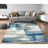 Luxe Weavers Lagos Collection 7558 Light Blue 8x10 Abstract Area Rug - 7558 Light Blue 8x10