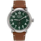 Silver & Green 'the Runwell' 47 Mm Watch - Green - Shinola Watches
