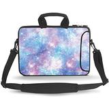 HEABPY Messenger Bag Carrying Case Sleeve with Handle Accessory Pocket Fits Laptops/Notebook/ebooks/Kids Tablet/ipad (Blue White Galaxy, 14-15.6 inch)