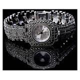 CHXISHOP White Gothic Women's Watch 925 Sterling Silver Watch Square Dial Diamond Watch Bracelet Cuff Watch Business Casual Women's Watch White-18.5cm