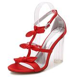 NYPB Women's Strap Sandals Summer Block Heel Shoes 3.94in Pumps Open Toe Satin Fashion Outdoor Bridesmaid Wedding Dress Prom Party Wedding Court Shoes,Red,7