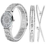 Women's Watch and Bracelet Set,Watch Set Women Watch Set Fashion Jewelry Gift Set Wrist Watch Bracelet for Party Birthday Women's Bangle Watch and Bracelet Set(black)