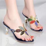 dihui Men's Print Slide Sandal,Rhinestone Sandals Women's high-Heeled Stilettos, Women wear high-Heeled flip Flops Outside in Summer-Blue_5,Unisex Slip On Slippers
