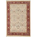 Vegetable Dye Floral Aubusson Area Rug Hand-Knotted Wool Carpet 5x6 (4' 6'' x 6' 3'')