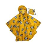 Joules Women's Ponchos - Gold & Gray Floral Hooded Packable Poncho & Drawstring Bag