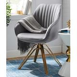 Art Leon Accent Chairs GRAY - Gray Mid-Century Swivel Accent Armchair