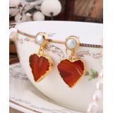 Handmade Art Women's Earrings White - Cultured Pearl & 14k Gold-Plated Agate-Accent Heart Drop Earrings