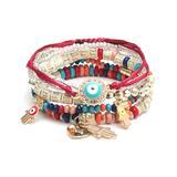 Sanmuses Women's Bracelets Dark - Red & Blue Evil Eye Charm Bracelet Set