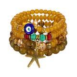 Sanmuses Women's Bracelets yellow - Yellow & Goldtone Starfish Beaded Stretch Bracelet Set