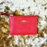 Coach Bags | Coach Red Leather Slim Card Case Wallet. | Color: Gold/Red | Size: Os