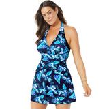 Plus Size Women's V-Neck Halter Swimdress by Swimsuits For All in Blue Floral (Size 26)