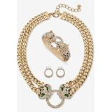 Plus Size Women's Gold Tone Leopard Collar Necklace, Earring and Bracelet Set by PalmBeach Jewelry in Emerald