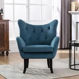 House of Hampton® Velvet Wingback Accent Chair Armchair Modern Tufted Button Vanity Chair w/ Wooden Legs For Living Room Bedroom,Purple Velvet