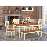August Grove® Cleobury 6 - Piece Butterfly Leaf Rubberwood Solid Wood Dining Set Wood in White, Size 30.0 H in | Wayfair