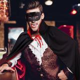 The Holiday Aisle® Stand Collar Hooded Cape w/ Half Mask Set Unisex Adult Halloween Cloak Vampire Magician Costume Accessories Props Black & Red