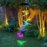Arlmont & Co. Butterfly Solar Wind Chimes For Outside, Outdoors, Solar Mobiles Hanging Color Changing LED Lights Outdoor Waterproof Decor | Wayfair