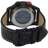 Contasecondi Black/white Dial Calfskin Leather Strap Watch - Black - Gv2 Watches