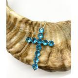 Sevil 925 Women's Necklaces - Blue Cubic Zirconia & Sterling Silver Cross Pendant Necklace
