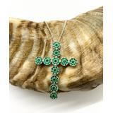 Sevil 925 Women's Necklaces - Green Cubic Zirconia & Sterling Silver Cross Pendant Necklace