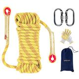 EMEKIAN 12mm Yellow Outdoor Climbing Rope, 30M(98ft) Static Rock Climbing Rope for Escape Rope, Ice Climbing Equipment, Fire Safety Rescue Rope, with Non-Slip Gloves