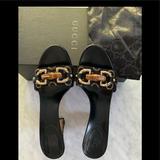 Gucci Shoes | Authentic Gucci Gg Horsebit Leather Canvas Sandals | Color: Brown/Orange | Size: 6.5