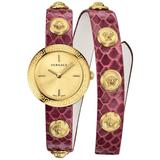 Medusa Stud Icon Ip Gold Stainless Steel Leather-strap Wrap Watch - Metallic - Versace Watches