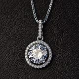 N\C Women's Pendant Necklaces - S925 Sterling Silver Fine Pendant for Women Classic Luxury Necklace Round Stone Cubic Zirconia Necklaces Pendants Jewelry