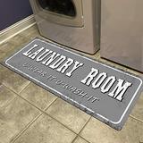 Abreeze Laundry Room Rug Floor Mat for Washroom Mudroom Non Skid Rubber Waterproof Mat Laundry Room Floor Mat Runner Entrance Rug, 20x48,Grey