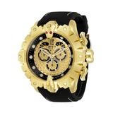 #1 LIMITED EDITION - Invicta Jason Taylor Quartz Mens Watch - 52mm Stainless Steel/14K Gold Case Silicone Band Gold Black (32558)