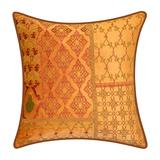 Velvet Patchwork Embroidered Decorative Pillow by Levinsohn Textiles in Lily