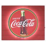 """American Art Decor Vintage Coca Cola Metal Backlit LED Sign – 15"""" X 18"""" in Brown/Red, Size 15.0 H x 18.0 W x 2.0 D in   Wayfair 309518WEB"""