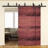 ATT Carbon Steel Sliding Double Bypass Barn Door Hardware Kit, Size 1.375 D in | Wayfair ATT-MM-20D-8FT-L
