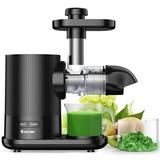 Costway Horizontal Slow Masticating Juicer Cold Press Extractor W/Brush Silver in Black, Size 15.0 H x 13.5 W x 7.0 D in   Wayfair ES10002US-DK