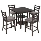 Disney TREXM 5-Piece Wooden Counter Height Dining Set, Square Dining Table w/ 2-Tier Storage Shelving & 4 Padded Chairs, Espresso in Gray   Wayfair